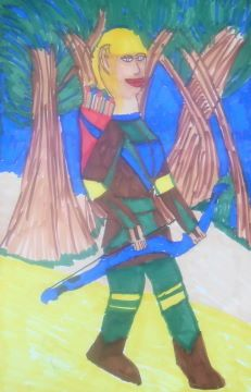 Archer on Patrol, Copic Sketch Markers, copyright 2012 by A. Dameron #30DaysofCreativity2012 #30DoC #drawing #woman #art #fantasy #archer #Day23 #CopicSketchMarkers