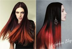 straight black and red ombre long hairstyles 2013