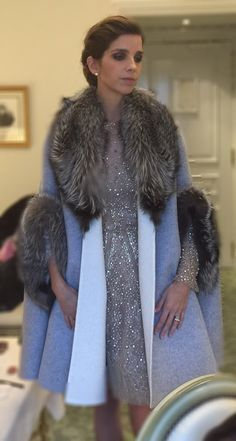 Margarita Vargas de Borbón, Duchess of Anjou, at her sister-in-law, Cynthia Rossi's, wedding Fur Fashion, Look Fashion, Winter Fashion, Fashion Show, Fashion Outfits, Ladies Smart Coat, Cristina Reyes, Elie Saab, Apparel Design