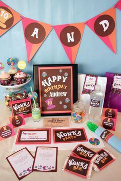 Willy wonka party  Etsy listing at http://www.etsy.com/listing/129918725/willy-wonka-birthday-diy-printable-kit