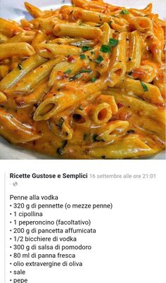 Pasta Recipes, Diet Recipes, Cooking Recipes, La Trattoria, Bacon Pizza, Original Recipe, Pasta Dishes, Food For Thought, Italian Recipes