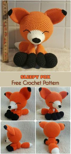 Sleepy Crochet Fox [Free Pattern Amigurumi] Related posts:Makerist - Schnuffel-Schnuller-Drache - And Amazing Crochet Amigurumi Patterns for Kids Fun - Crochet Patterns Crochet Fox Pattern Free, Crochet Amigurumi Free Patterns, Cute Crochet, Crochet Dolls, Knit Crochet, Fox Amigurumi Pattern, Crochet Birds, Knitting Patterns, Crochet Animals Patterns Free
