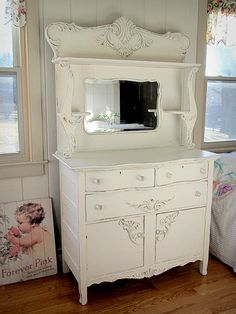 Shabby Chic Victorian White Antique High Sideboard - April 13 2019 at Shabby Chic Mode, Shabby Chic Bedrooms, Shabby Chic Kitchen, Shabby Chic Cottage, Shabby Chic Style, Shabby Chic Furniture, Shabby Chic Decor, Vintage Furniture, Painted Furniture