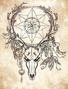 47393425-Beautiful-skull-tattoo-art-Vintage-deer-bull-elk-horns-Antlers-with-branches-and-ornate-dream-catche-Stock-Vector.jpg (999×1300)