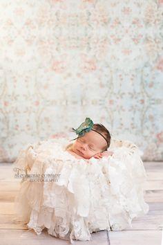 newborn photography, newborn posing, newborn girl photography, Stephanie Connor Photography, Lemondrop Backdrops Around the Roses backdrop