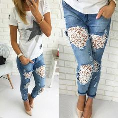 Jeans Renovation 5 Styles Idea - jeans diy design - NaLaN& World: . - Jeans Refresh 5 Styles Idea – jeans diy design – NaLaN& World: - Pullover Mode, Diy Jeans, Diy Holy Jeans, Diy Lace Jean Shorts, Holy Jeans Outfit, Sewing Jeans, Denim And Lace, Diy Kleidung, Denim Flowers