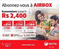 Emtel: Abonnez-vous à Airbox et économisez jusqu'à Rs. 2400*. Tél: 8970