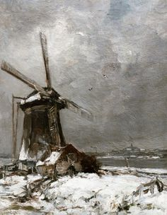 Lodewijk Franciscus Hendrik 'Louis' Apol (Den Haag 1850-1936) A windmill in a snow-covered landscape - Dutch Art Gallery Simonis and Buunk Ede, Netherlands.