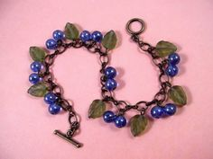 BLUE Berry Charm Bracelet Wild Blueberry and Brass by justCHARMING, $20.00