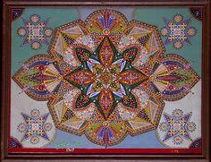 TABLEAU MERVEILLEUX Nº 33 (Marvelous painting no. 33)/ Fleury-Joseph Crépin (1875–1948, France), July 1939, Montigny-en-Gohelle, France, oil on canvas, 19 3/4 x 25 5/8 in., Collection de l'Art Brut, Lausanne, Switzerland, cab-A142. Photo credits: © Collection de l'Art Brut, Lausanne. Photo by Henri Germond, Atelier de numérisation—Ville de Lausanne
