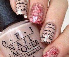 Writing & roses, stamping nail art