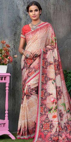 1ebabde85e Wonderful Pink And Multi-Color Tussar Silk Saree. Georgette Sarees, Tussar  Silk Saree