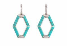Kara Ross New York Sterling Silver Earrings with Turquoise and white sapphires