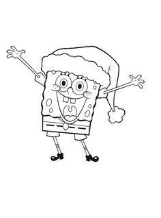 Spongebob Christmas Waving Both Hands Coloring Page - Christmas Coloring Pages : KidsDrawing – Free Coloring Pages Online