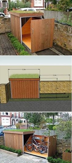 Shed DIY - BIKE - idea for the front, maybe between both porches. maybe tree is in the way? Now You Can Build ANY Shed In A Weekend Even If You've Zero Woodworking Experience! Bike Storage, Garage Storage, Outdoor Storage, Outdoor Spaces, Outdoor Living, Outdoor Decor, Garage Velo, Build A Bike, House Ideas