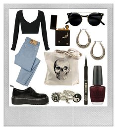 """""""Skull Tote"""" by grequin ❤ liked on Polyvore featuring Polaroid, WithChic, D&G, Boohoo, OPI and tarte"""