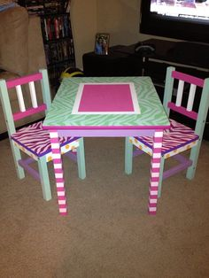 Hand painted children's table and chair by TinyTablez on Etsy, $400.00