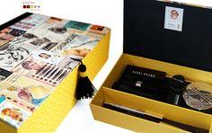 handmade box covered and lined with fabric and paper. caixa feita à mão, forrada com papel e tela