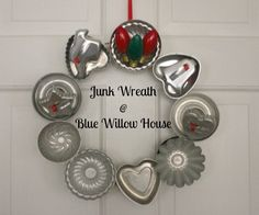 A Junk Wreath for Christmas | The Blue Willow House -- so cute.  I have most of these items on hand!