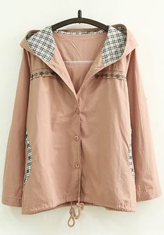 Pink Patchwork Pockets Single Breasted Trench Coats