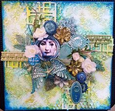 """""""Icy skywater"""" MIXED MEDIA CANVAS FINNABAIR PRODUCTS by Erika Kolstad Canvas Collage, Mixed Media Canvas, Altered Books, Art Journals, Elk, Projects, Painting, Fictional Characters, Moose"""