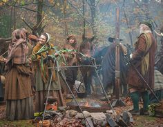 MacKenzie clansmen camping outside the castle for the Gathering. | Outlander S1E4 'The Gathering' on Starz | Costume Designer TERRY DRESBACH www.terrydresbach.com