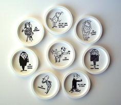 Set of 8 Vintage Plastic Novelty Bar Drink Coasters by PoorLittleRobin, $12.00