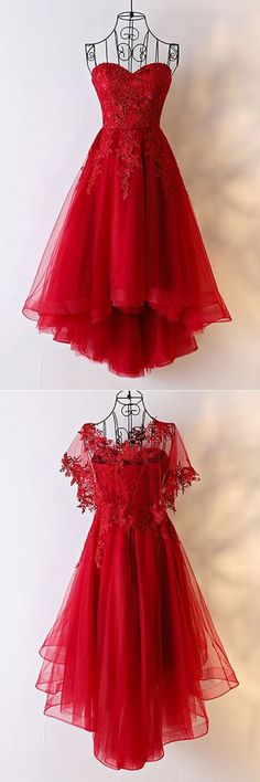 Sweetheart red tulle high low homecoming dress, red lace party dress #prom #dress #promdress #promdresses