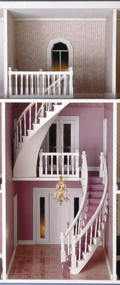 "Gorgeous curved staircases (can buy..each staircase 10.5"" must keep note - be nice feature for DIY vignette or room box)"