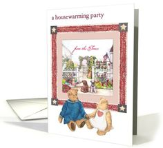 Open House Party invitation, teddy bear &... | Greeting Card Universe