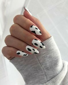 Edgy Nails, Funky Nails, Stylish Nails, Trendy Nails, Grunge Nails, Halloween Acrylic Nails, Cute Acrylic Nails, Acrylic Nail Designs, Cow Nails