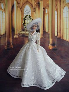 classical lace wedding gown for Silkstone Barbie by SL Doll Fashion Barbie Bridal, Barbie Wedding Dress, Wedding Doll, Barbie Dress, Barbie Doll, Fashion Royalty Dolls, Fashion Dolls, Fashion Fashion, Bridal Gowns