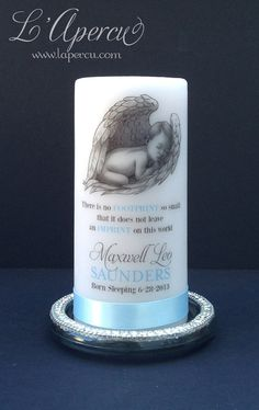 Baby Memorial Candle, Born Sleeping,  Personalized Candle, Angel Baby, Keepsake,  White, 6-inches tall, Custom Available