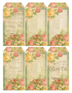 Queen of Blossoms ~ free printable gift tags with roses combined with French music and ephemera