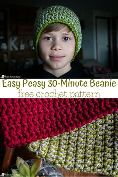 Beanie hats are a staple in this house. Today we are adding to that long list of beanie love with a NEW, easy peasy Beanie Free Crochet Pattern. Easy Crochet Hat, Crochet Baby Hats, Free Crochet, Knit Crochet, Beanie Pattern Free, Crochet Beanie Pattern, Crochet Patterns, Hat Patterns, Crochet Hat For Beginners