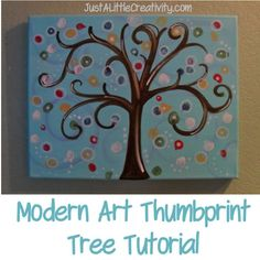 DIY Thumbprint Tree- Modern Art & Fun for Kids, Weddings, Baby Showers, and MORE - Just a Little Creativity