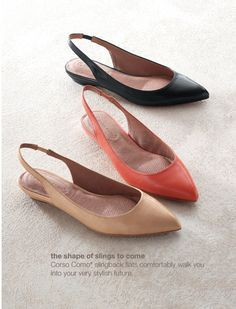 Women's apparel, accessories, and footwear from J. Shoes Flats Sandals, Slingback Flats, Leather Wedge Sandals, Leather Heels, Slingbacks, Pretty Shoes, Cute Shoes, Me Too Shoes, New Shoes