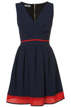 Navy blue sleeveless with red hem.