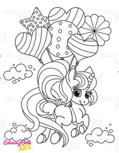 A sweet coloring book full of merry and funny unicorns. Fun adventures of unicorns that meet various animals, fly balloons, dance at the disco, meet fairies and jump on a rainbow. Unicorn Coloring Pages, Coloring Books, Happy Animals, Amazing Adventures, Balloons, Fairy, Rainbow, Kids, Picnics