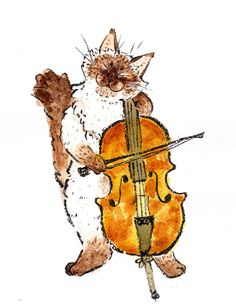 Items similar to Ragdoll playing the Cello- Original Artwork.-Items similar to Ragdoll playing the Cello- Original Artwork on Etsy Ragdoll playing the Cello Original Artwork by LittleRagdollCat - Arte Cello, Cello Kunst, Cello Art, Art And Illustration, Music Drawings, Music Backgrounds, Mixed Media Painting, Cat Art, Amazing Art