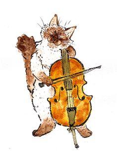 Ragdoll playing the Cello Original Artwork by LittleRagdollCat