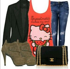 Hello Kitty tank top • jeans • black blazer •   ~Teenage Fashion~