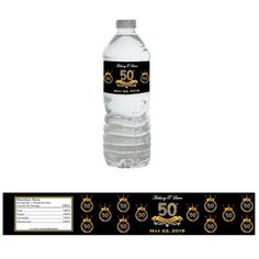 Custom Water Bottle Labels for 50th Birthday Party - Gold, Black, and Diamonds. Colors can be customized to match your event!! Stop by my shop at www.etsy.com/shop/BKreationz to checkout this item and the matching backdrop!