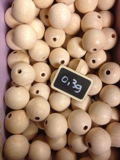 Houten bollen, doorboord (30mm)