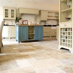 ivory and black with blue vintage and travertine floor