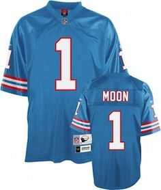 Warren Moon Jersey, Throwback #1 Tennessee Titans Authentic Jersey in Blue  ID:2862  US$20