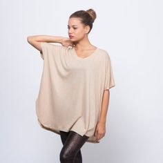 Beige short sleeve light brown oversized top by AndyVeEirnBasic, $36.00