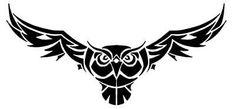 """Képtalálat a következőre: """"owl tribal tattoo"""" Tribal Animal Tattoos, Tribal Animals, Owl Stencil, Stencils, Owl Tattoo Design, Tattoo Designs, Owl Tattoo Drawings, Owl Wings, Owl Logo"""