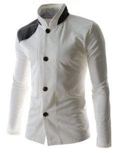 Mens Slim Fit Leather Patched Long Sleeve 4 Button cardigans WHITE Large(US Medium). Brand new, Slim fit, Front 4 Botton, Leather Patched , Long Sleeve. Please check accurate measurements below on description part. Moda Rock, Fashion Wear, Mens Fashion, Le Polo, African Men Fashion, Men Formal, Slim Man, Mens Suits, Shirt Style