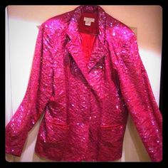 Vintage Sequined Blazer Simply Stunning! One of a Kind! Vintage Fuchsia Sequined Blazer. 2 Front Pockets. Fully Lined in solid Fuchsia. 100% Cotton with Rayon Lining. Shoulder Pads are easily removable. Basically Flawless except for missing the 2nd Front Button (See 3rd Pic). Price already adjusted due to it. Says XL, but well-suited for a size L too. No Trades. Lew Magram Jackets & Coats Blazers